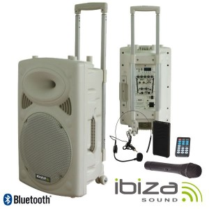 "Ibiza Sound Coluna PA 15"" com Bluetooth 800W White - PORT15VHF-BT-WH"