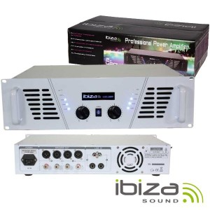 """Ibiza Amplificador Áudio 19"""" 2X800W Branco - AMP1000-WH"""