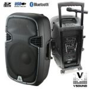 "COLUNA AMPLIFICADA 15"" 600W USB/BT/SD/BAT VSOUND"