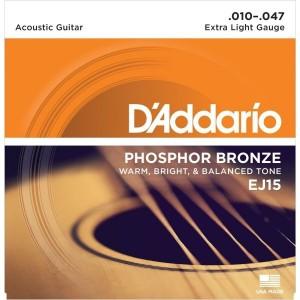 D'Addario Conjunto Cordas EJ15 Phosphor Bronze Extra Light 10-47
