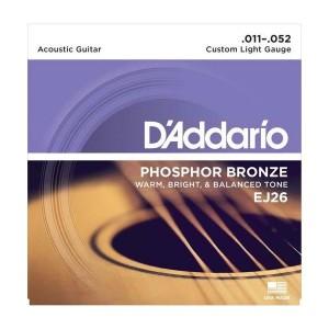 D'Addario Jogo de Cordas para Guitarra Acústica EJ26 011-052