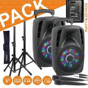 Ibiza Pack PARTY-12LED + Suporte 3 Projetores e Laser DJLIGHT85LED