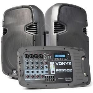 """Vonyx Sistema de Som Portátil 10"""" 300W PSS302 - 170.118"""