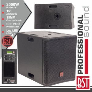"BST Grave Subwoofer Amplificado Pro 15"" 2000W Mdf Dsp FIRST-SA15SDSP2"
