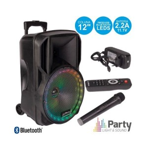 "Party Coluna Amplificada 12"" USB/FM/BT/SD/BAT VHF PRETA 700W PARTY-12RGB"