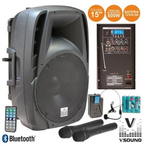 "Vsound Coluna 15"" 600W USB/BT/SD/FM/BAT VHF - VSSE15AWF"
