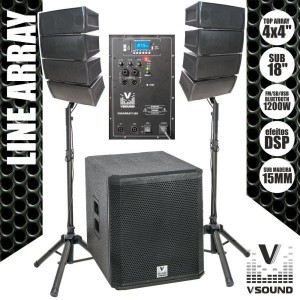 "VSound 8 Colunas 2x4""+ sub 18"" 1200W - VSSARRAY1200"