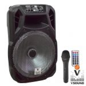 "Coluna Amplificada 15"" FM/USB/BT/SD/BAT LED VSSP15A"