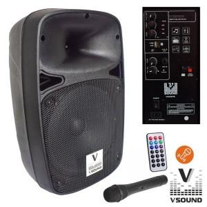 "Vsound Coluna Amplif. 8"" USB/BT/SD/BAT MIC s/Fios VSSE8PM"