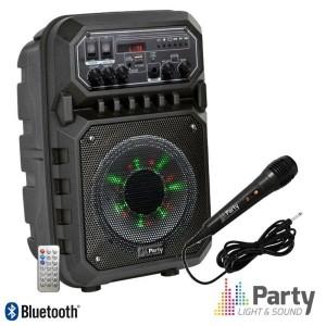"Ibiza Coluna Amplificada 6.5"" 200W USB/FM/BT/SD/Bat Preta - PARTY-6LED-MKII"