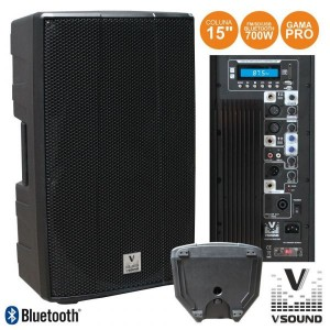 "Vsound Coluna Amplificada Pro 15"" Usb/Sd/Fm/Bluetooth 700w"