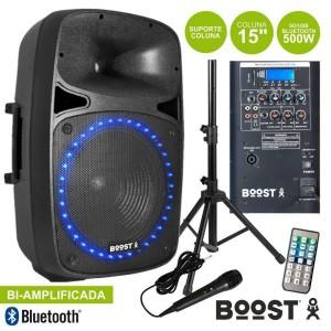 """Boost Coluna 15"""" Amplificada 500w Sd/usb/bt Suporte/micro"""