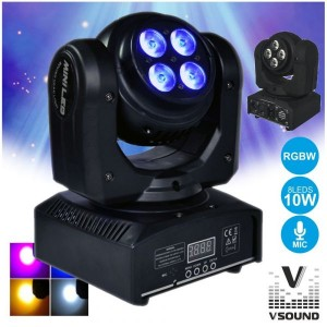 Vsound Moving Head 8 Leds Cree 10w Rgbw Dmx Mic LEDMV811RGBW
