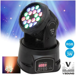 VSOUND Moving Head Mini 18 Leds 3w Rgb Dmx Mic