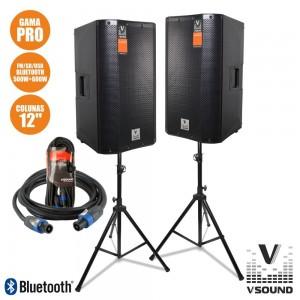 "VISOUND Colunas Bi-Amplif.+Passiva PRO 12""VSSPRO12-PACK"