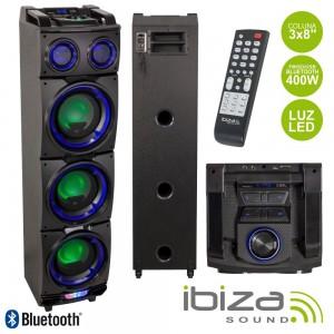 """Coluna Ampl. STANDUP308 3x8"""" 400w Usb/Fm/Bt/Sd Ibiza"""