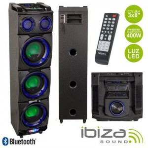 "Coluna Amplificada STANDUP308 3x8"" 400w Usb/Fm/Bt/Sd Preta Ibiza"