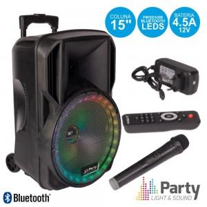 """Coluna Amplificada 15"""" USB/FM/BT/SD/Bat Vhf Preta 800W PARTY 15-RGB"""