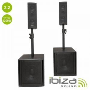 Conj. Som Bi-Amplif. Usb/Sd/Bt 1200 Ibiza  CUBE204