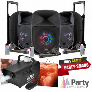 Pack 3 PARTY-8led + Oferta Maquina Fumos 400W PARTY
