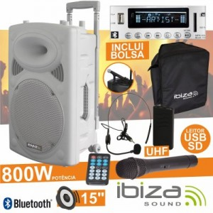 "Coluna Amplificada 15"" 800w Usb/Bt/Sd/Bat Ibiza PORT15VHF-BT-WH"