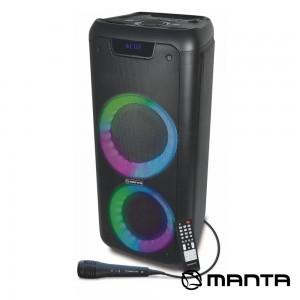 """Coluna Amp. SPK5210 2x6.5"""" USB/SD/AUX/BT LED RGB MANTA"""