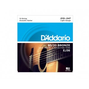 D'Addario Jogo de 12 Cordas para Guitarra Acústica D'addario EJ36